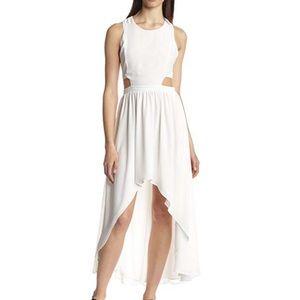NWT White Cut Out High Low Asymmetrical Hem Dress